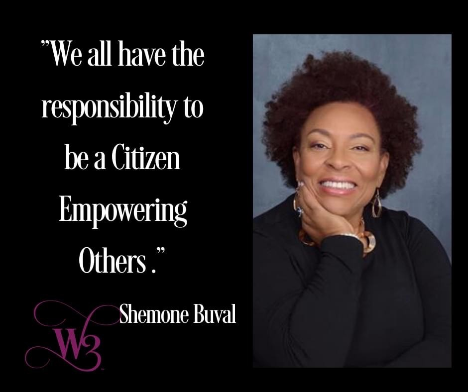 headshot of Shemone Buie with quote we all have the responsibility to be a citizen empowering others