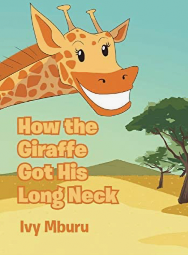Illustrated image of a smiling giraffe with the words how the giraffe got his long neck